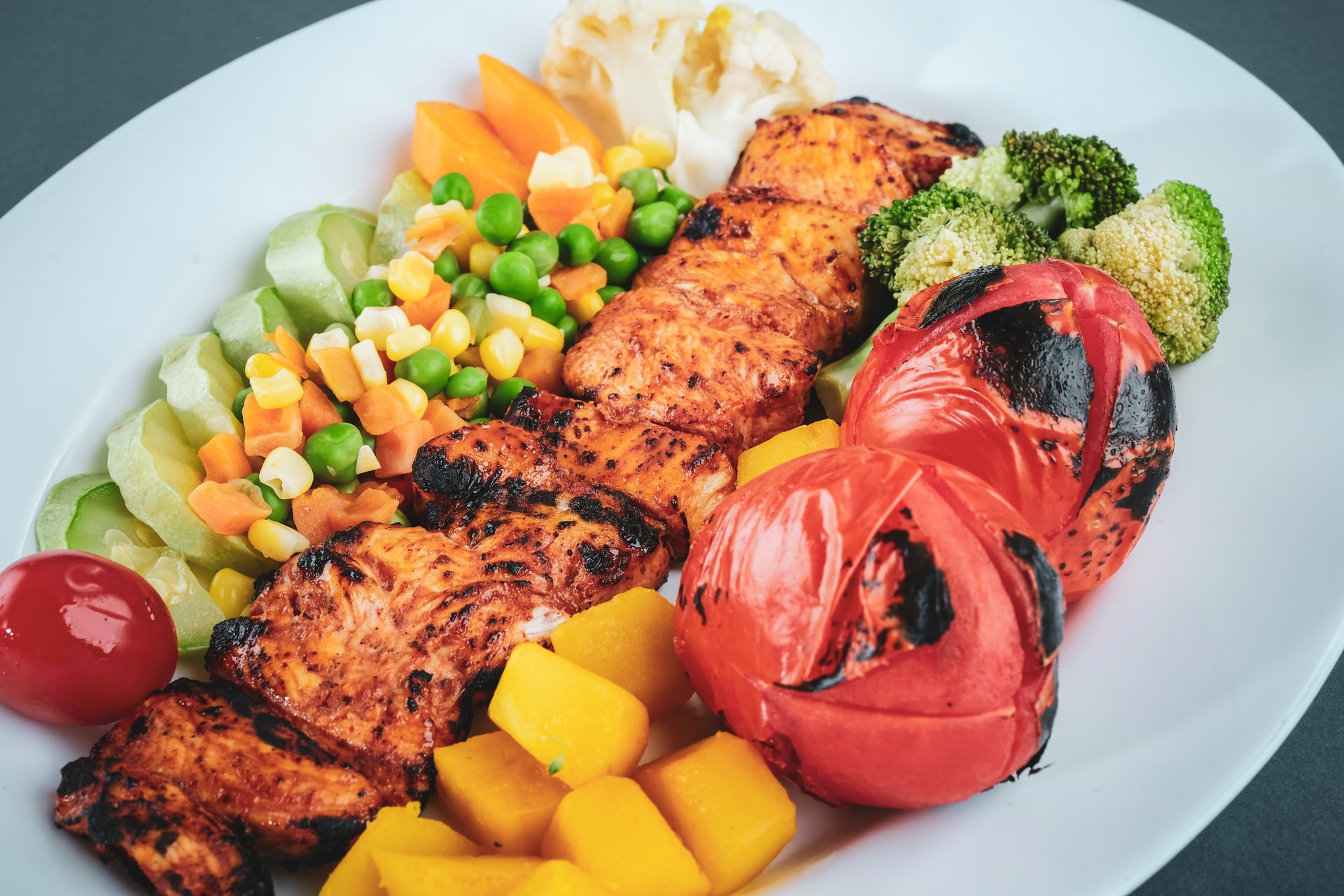 Oily Fish and Salad meal for Diet and Nutrition